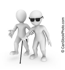 3d white man helps the blind person.