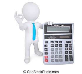 3d white man holding a calculator