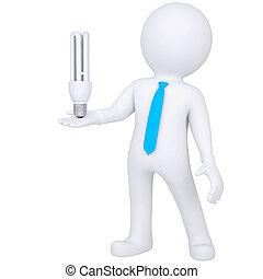 3d white man holding a light bulb