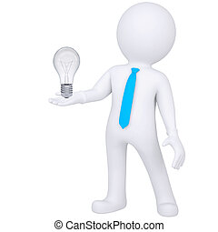 3d white man holding a light bulb