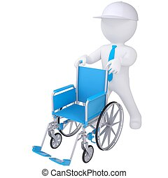 3d white man holding a wheelchair. Isolated render on a...