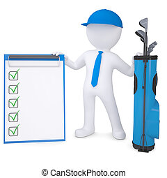 3d white man holding checklist - 3d white man with a bag of...