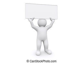 3d white man holding empty board on white background.