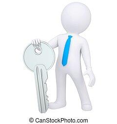 3d white man holding metal key
