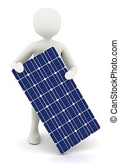 3d white man holding solar panel - 3d man holding one piece...