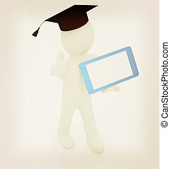 3d white man in a grad hat with thumb up and tablet pc - best gift a student . 3D illustration. Vintage style.
