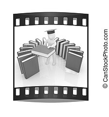 3d white man in a graduation hat with useful books - best gift a student. The film strip