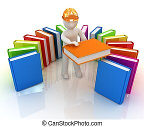 3d white man in a hard hat with best technical literature on a white background
