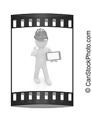 3d white man in a hard hat with thumb up and tablet pc. The film strip