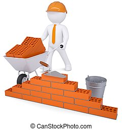 3d white man in a helmet builds a wall. Isolated render on a...