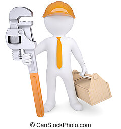 3d white man in a helmet with a pipe wrench and tool box. ...