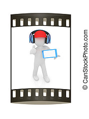3d white man in a red peaked cap with thumb up, tablet pc and headphones . The film strip
