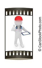 3d white man in a red peaked cap with thumb up, tablet pc and headphones. The film strip