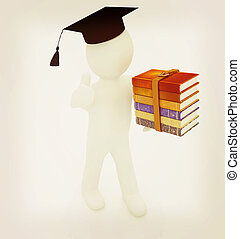 3d white man in a red peaked cap with thumb up and useful books - best gift a student . 3D illustration. Vintage style.