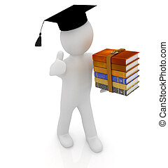 3d white man in a red peaked cap with thumb up and useful books - best gift a student on a white background