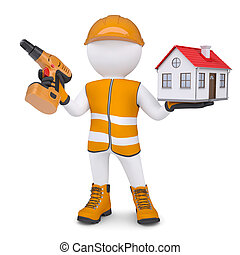 3d white man in overalls with a screwdriver and small house....