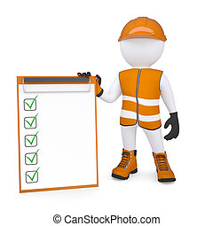 3d white man in overalls holding a checklist