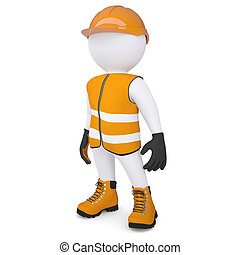 3d white man in overalls. Isolated render on a white ...