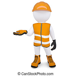 3d white man in overalls picked up an empty hand. Isolated render on a white background