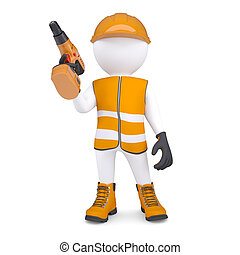 3d white man in overalls with a screwdriver