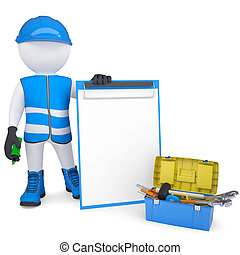 3d white man in overalls with checklists and tools. Isolated render on a white background