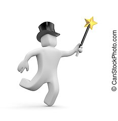 3d white man in the hat and magic wand hastens to the make miracles. 3d illustration
