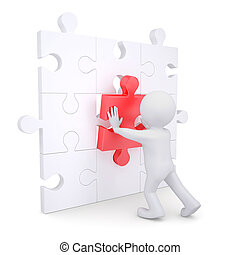 3d white man inserts red puzzle. Isolated render on a white...