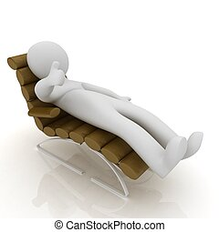 3d white man lying sofa bed brown genuine leather with thumb up isolated white background
