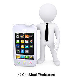 3d white man next to the smartphone