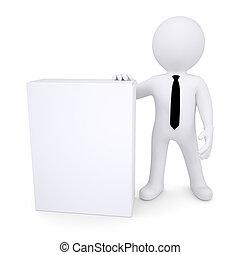 3d white man next to the white box