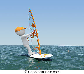 3d white man on board with a sail