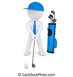 3d white man playing golf. Isolated render on a white...