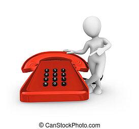 3d white man pointing finger on big red vintage phone. - 3d...