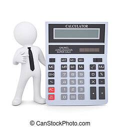 3d white man points a finger at a calculator