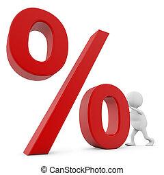 3D white man pushing percent sign isolated on white background.