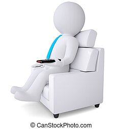 3d white man sitting in chair with remote control