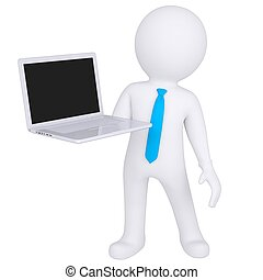 3d white man standing with a laptop