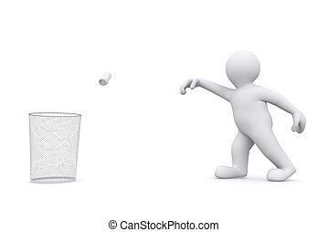 3d white man throwing can in garbage. - 3d white man...