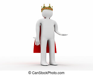 3d white man with a crown . 3d rendered illustration