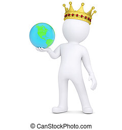3d white man with a crown holding the Earth