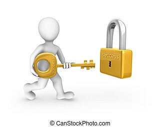 3d white man with a gold key and lock.