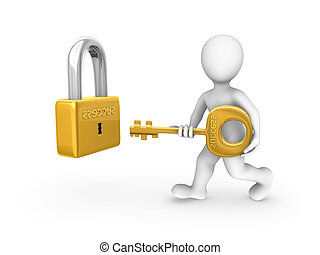 3d white man with a gold key and lock. 3d rendered illustration.