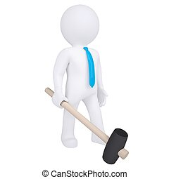 3d white man with a hammer. Isolated render on a white...