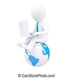 3d white man with a laptop. Isolated render on a white...