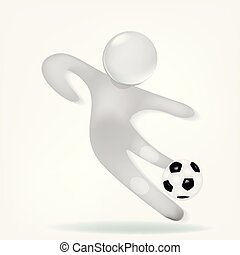 3D white man with a soccer ball icon logo vector image