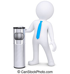 3d white man with a trash can