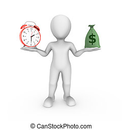 3d white man with alarm clock and money bag . Choice...
