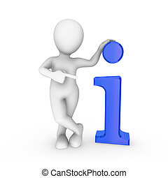 3d white man with big blue info symbol