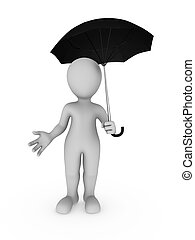 3d white man with big umbrella in hand