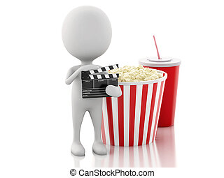 3d white man with clapper board, popcorn and drink. - 3d ...